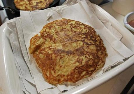 1-9-12: Cambridge, MA: At a medieval cooking class held at Next House at MIT, parsnip fritters are pictured. . (Globe Staff Photo/Jim Davis) section:lifestyle topic:18medievalpix